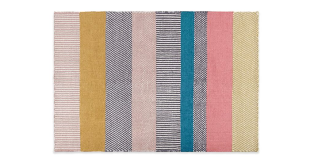 Pretty Wool Striped Mat for Girls Rooms