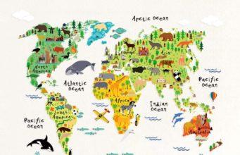 Cute animal print map