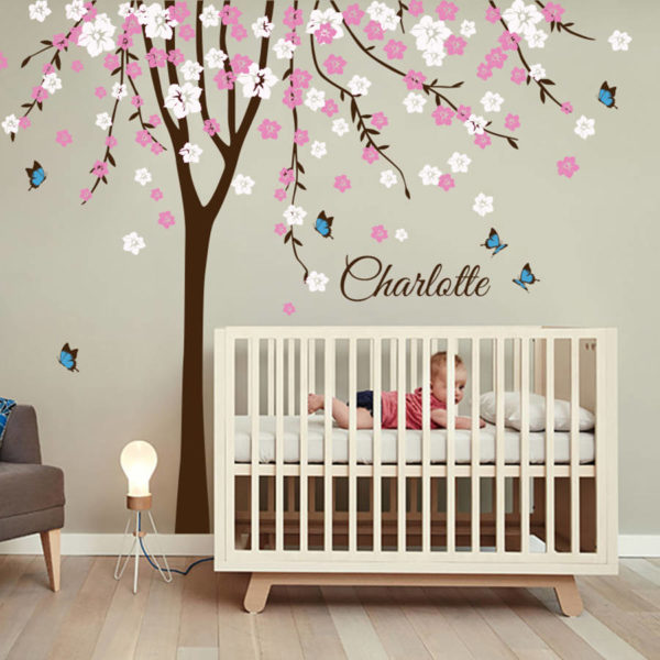 Pretty pink and white blossom decal