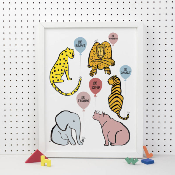 Be kind, Be brave animal print