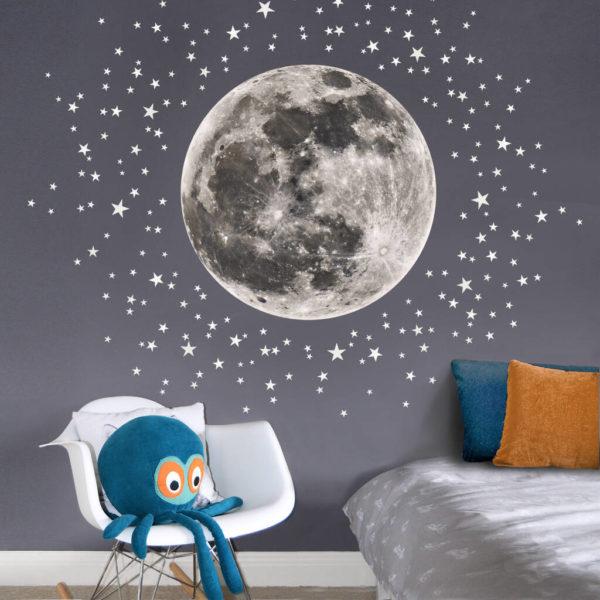 Moon And Stars Fabric Wall Sticker